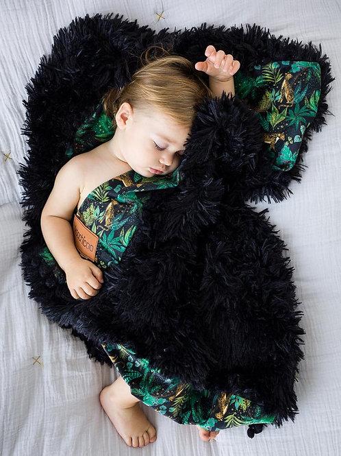 Jungle Roar Black Fluffy Baby Pram Blanket