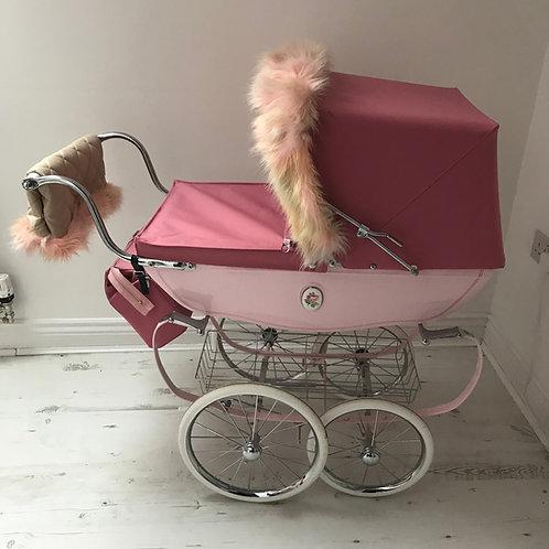 Unicorn Coach Built Dolls Pram Accessory Hood Fur and Handmuff Set
