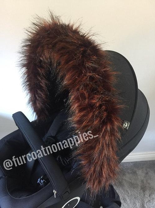 Bushy Bear Fur Pram Hood Trim