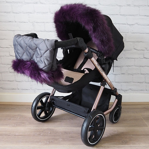 Luxury Purple Dolls Pram Fur/ Handmuff