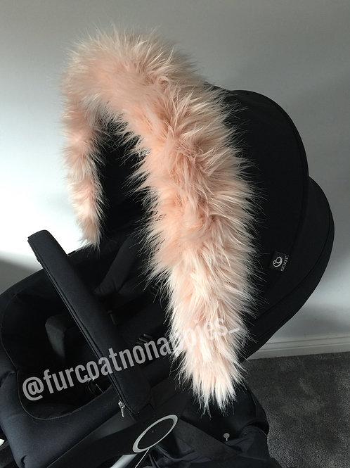 Blush Pink Fur Pram Hood Trim