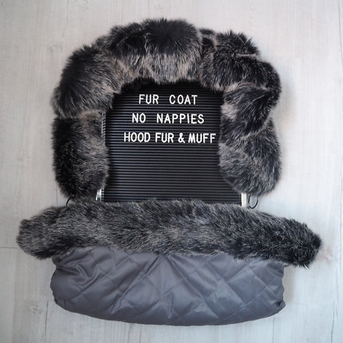Extra Fluffy Wolf Faux Fur Pram Hood & Handmuff Set