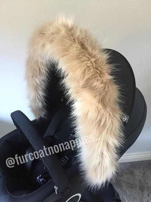 Soft Beige Hood Fur Pram Hood Trim