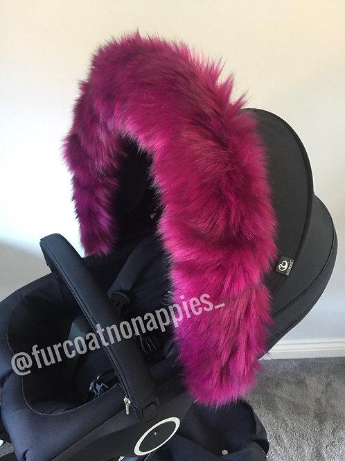 Cranberry Extra Fluffy Pram Hood Fur