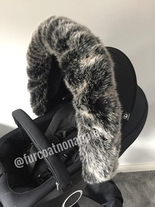 Black Wolf Extra Fluffy Pram Hood Fur