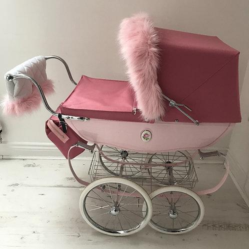Pink Coach Built Dolls Pram Hood Fur and Handmuff Accessory Set