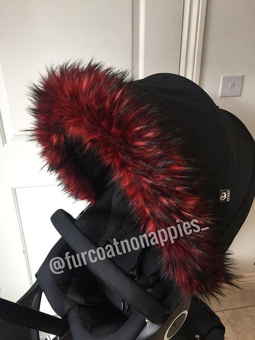 Red Pop Fur Pram Hood Trim