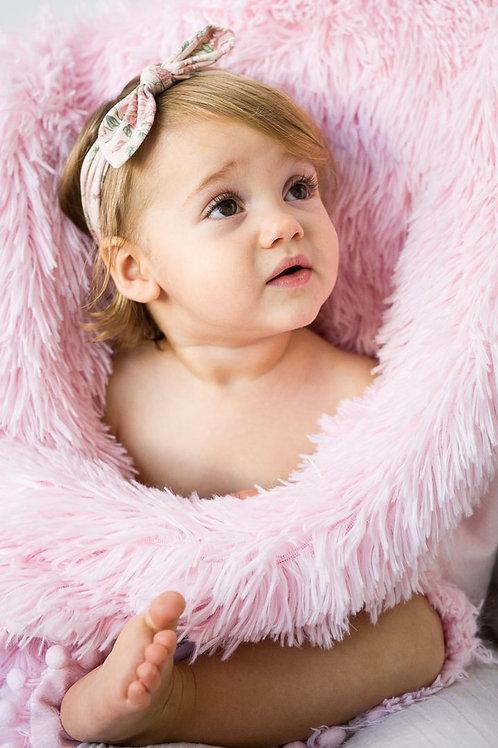 Blush Pink Fluffy Baby Pram Blanket