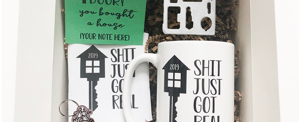 Housewarming Gift Box For New Homeowner with Mug, Can Cooler, Key Bottle Opener