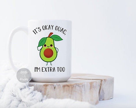 guac avocado extra funny coffee mug