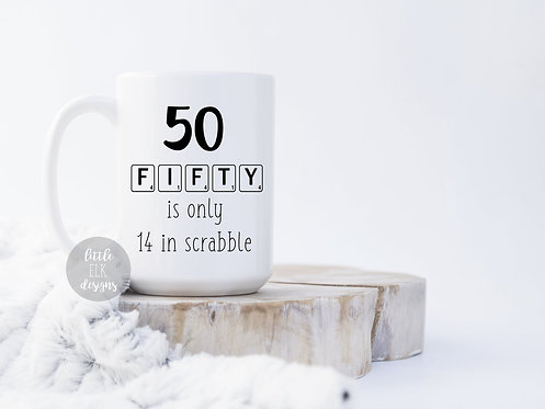 50th funny birthday mug scrabble 15 oz coffee cup