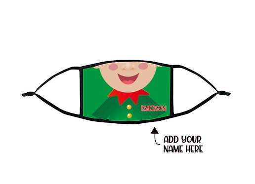 Personalized Kids Elf Face Mask, Elf Face Mask