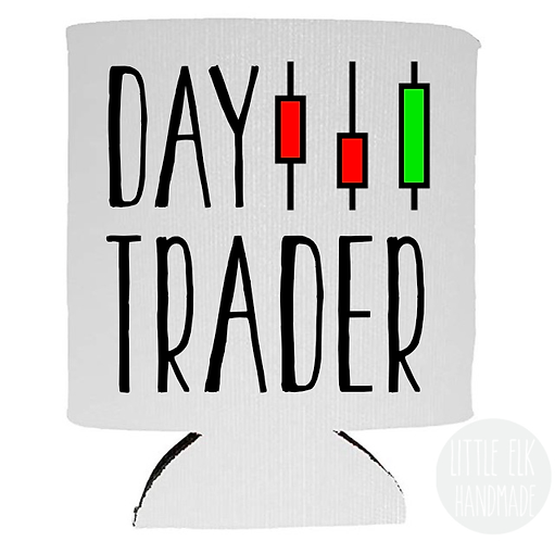 Day Trader - White Beer Can Cooler 12 oz