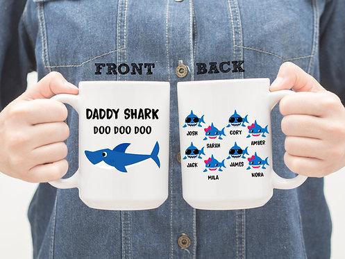 personalized daddy shark mug