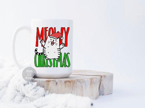 meow christmas merry christmas cat coffee mug cup