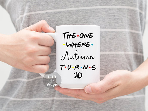 Friends Theme Birthday The One where *Custom Name* Turns *Year* Coffee Mug