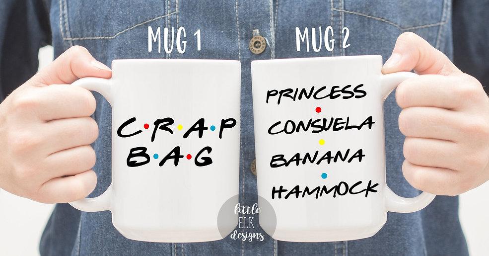 Crap Bag  Princess Consuela Banana Hammock Friends Mug Set, Mr and