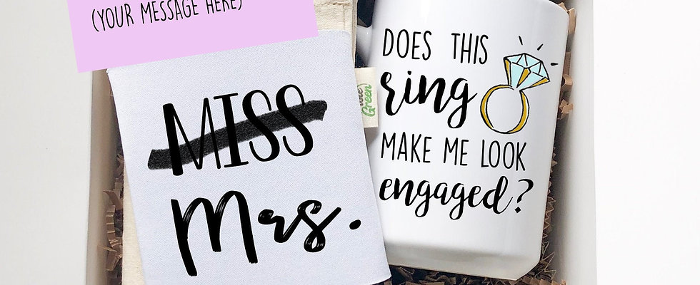 Engagement Gift Box for Bride With 15 oz Coffee Mug, Can Cooler and Tote