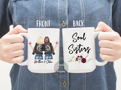 Personalized Best Friend Soul Sisters Custom Name 15 oz Coffee Mug