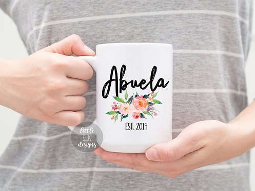 Abuela Mug, New Grandparent Pregnancy Announcement Gift For Grandma Established