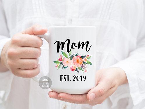 Custom Mom Established 2019 15 oz Coffee Mug