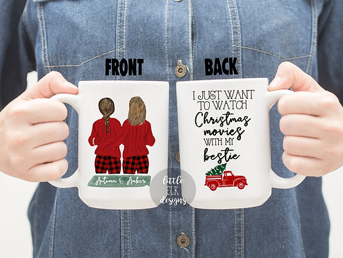 Personalized Best Friend Custom Name Christmas Gift 15 oz Coffee Mug