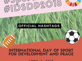 #Sport2030 and #IDSDP2018 are the Official Hashtags for April 6, 2018!