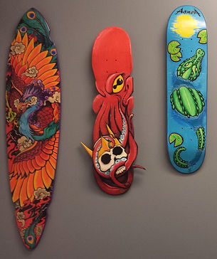 Hand painted skateboards by Jacob Brooks