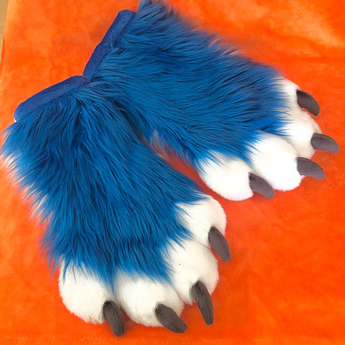 Blue and White Hand Paws