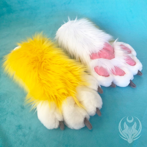 Yellow and White Hand Paws