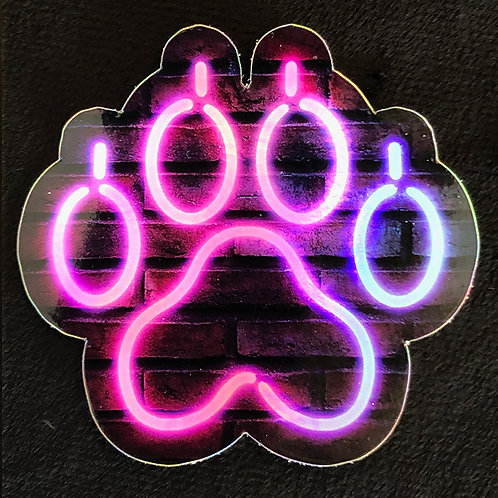 Neon Paw Holographic Sticker