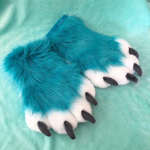 Aqua and White Hand Paws