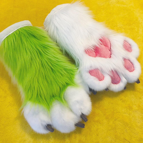 Lime Green and White Hand Paws
