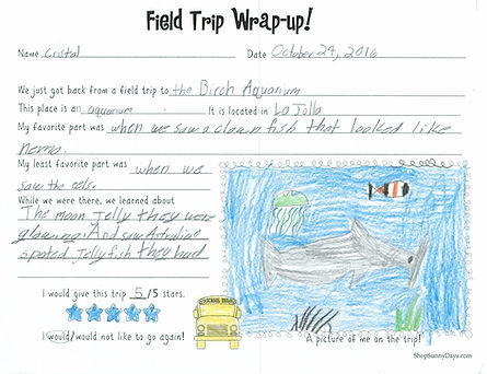 Field trip letter and drawing from student