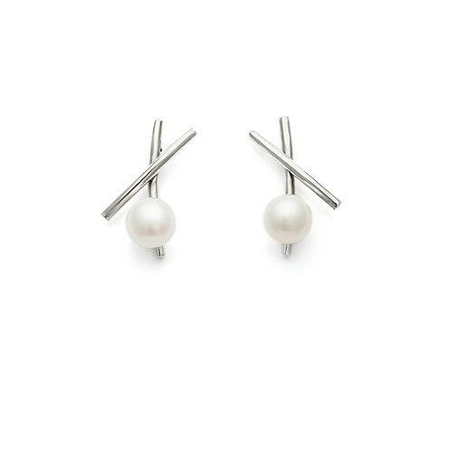 petit X silver Pearl earrings