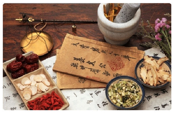 scrolls and Chinese herbs.JPG