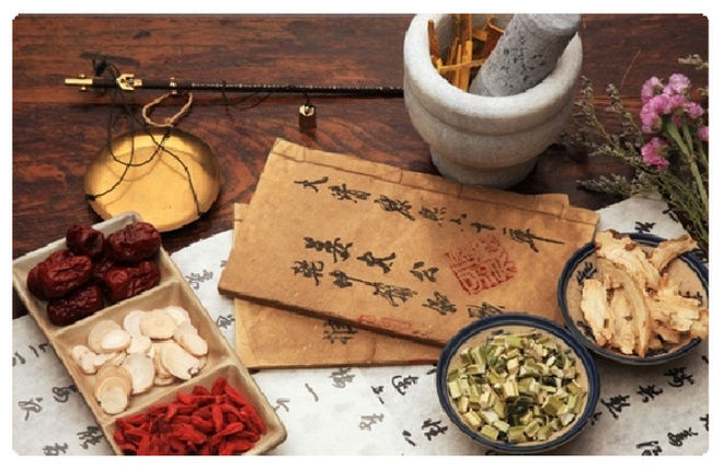 scrolls and Chinese herbs.JPG