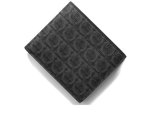 Salvatore Ferragamo フェラガモ  二つ折り財布(札入れ) ガンチーニ/モノグラム/ブラックグレーマルチ 66A