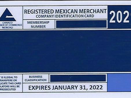 Tarjeta Comerciante Mexicano Confiable CANACO 2021