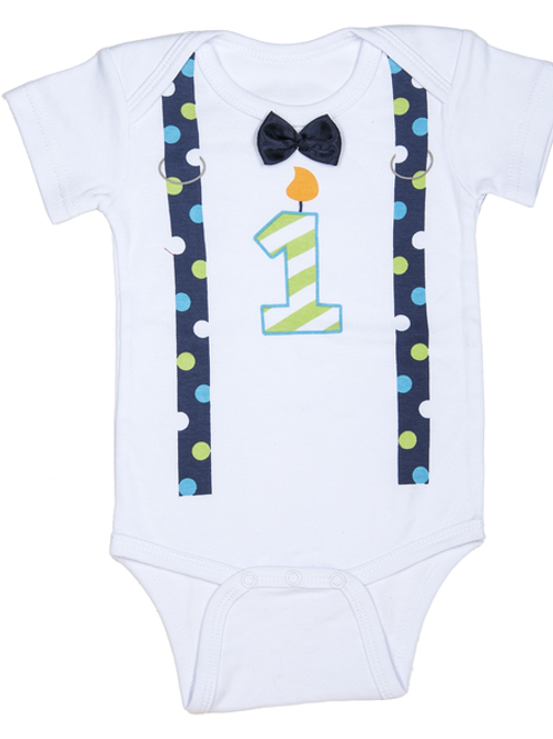 Tie & Suspenders Birthday Onesie