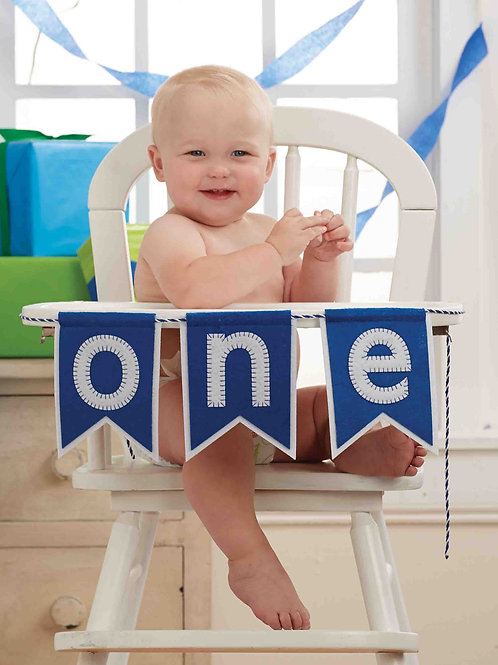 Blue 'One' Highchair Banner