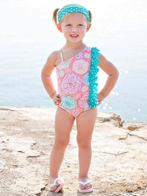 Tropical Garden Polka Dot Ruffle Swimsuit