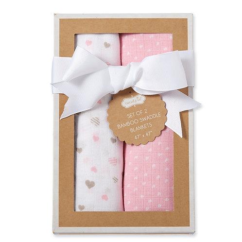 Heart Bamboo Swaddle Blanket Set