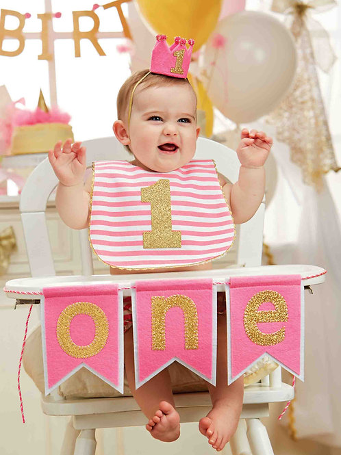 Pink 'One' High Chair Banner