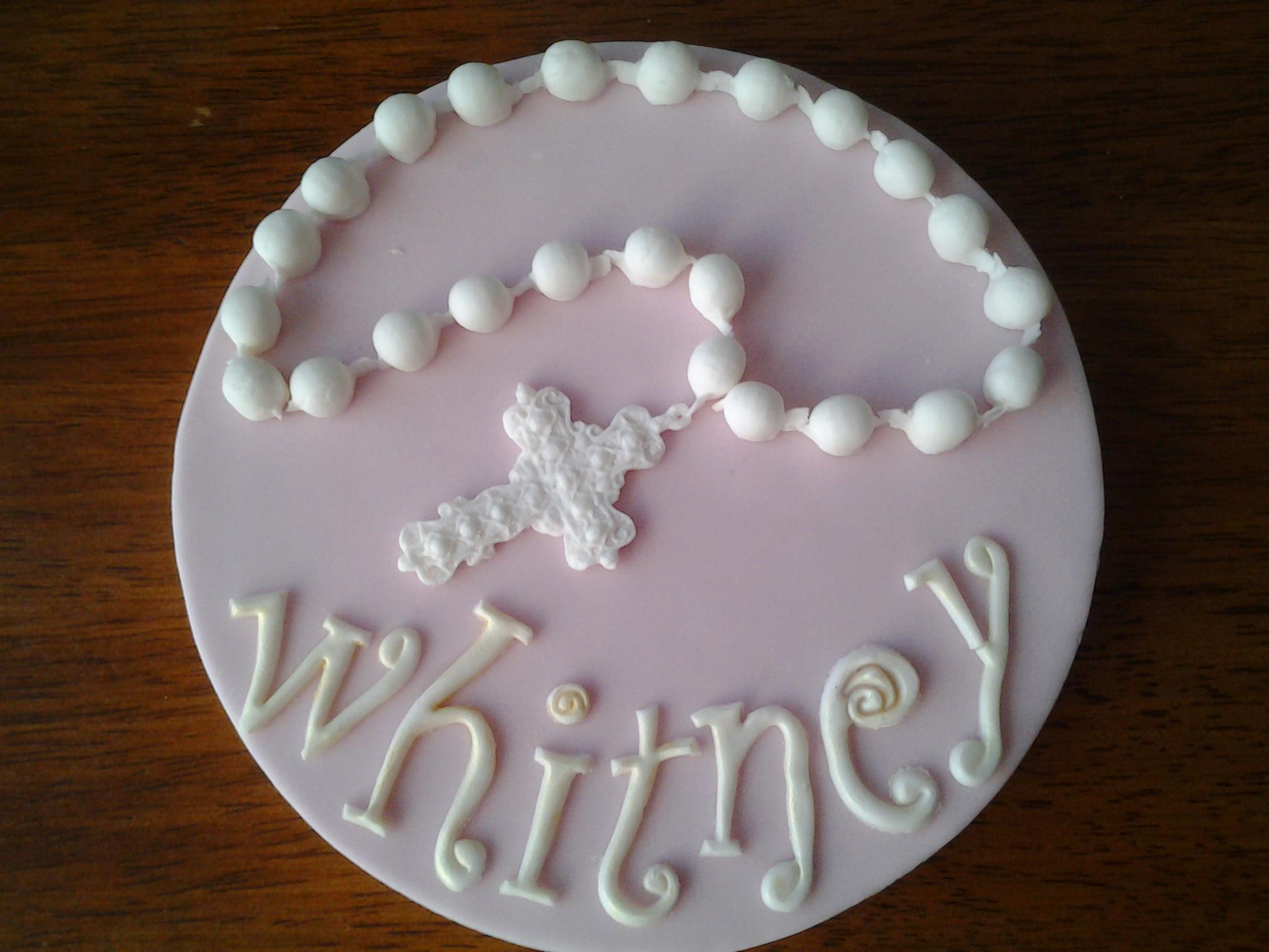 Rosary bead christening cake