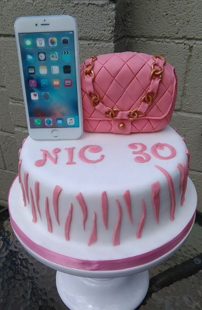 Phone and bag cake