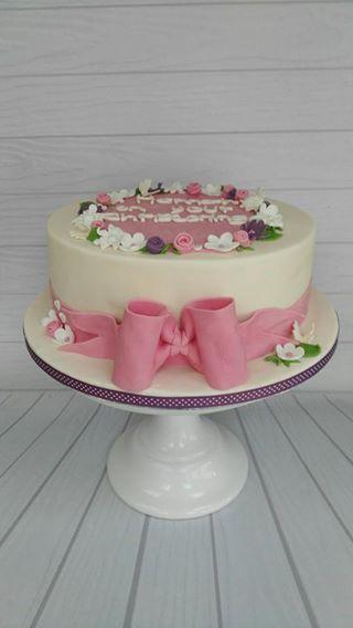 Floral christening cake