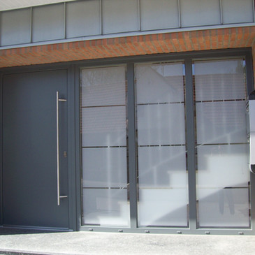 Glasdekor-Folienbeklebung, Haustür Priva