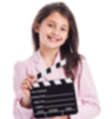 Girl acting with Clapperboard - Dublin Stage School