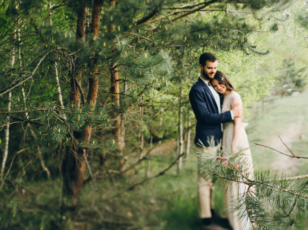 Wedding couple in the forest_